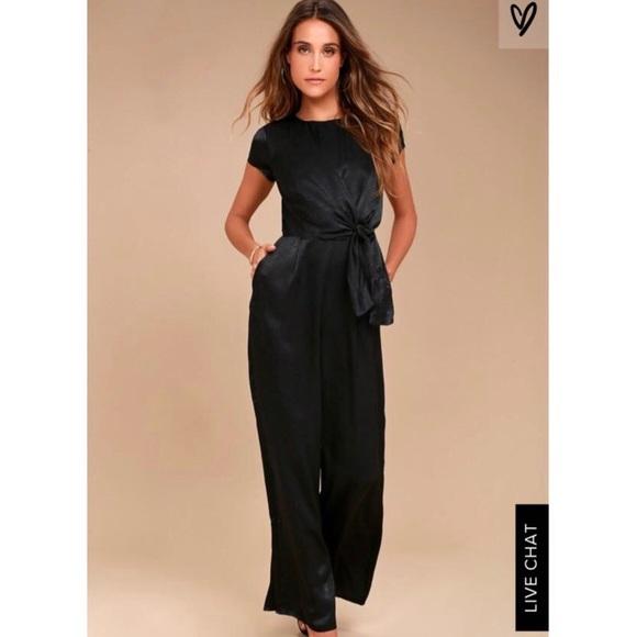 648f6ac860c8 Lulus black satin wide-leg jumpsuit